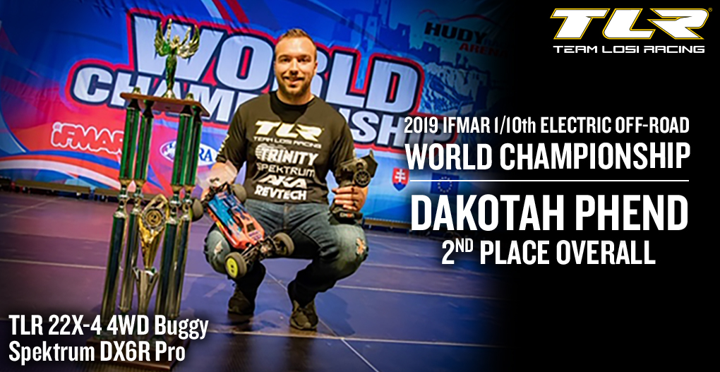 Congratulations Dakotah Phend - 2nd Place Overall at the 2019 IFMAR 1/10th Electric Off-Road World Championship