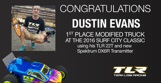 Team TLR's Dustin Evans Wins at Surf City Classic